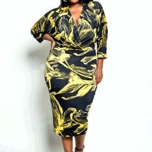 Beautiful Yellow and Black floral Dress